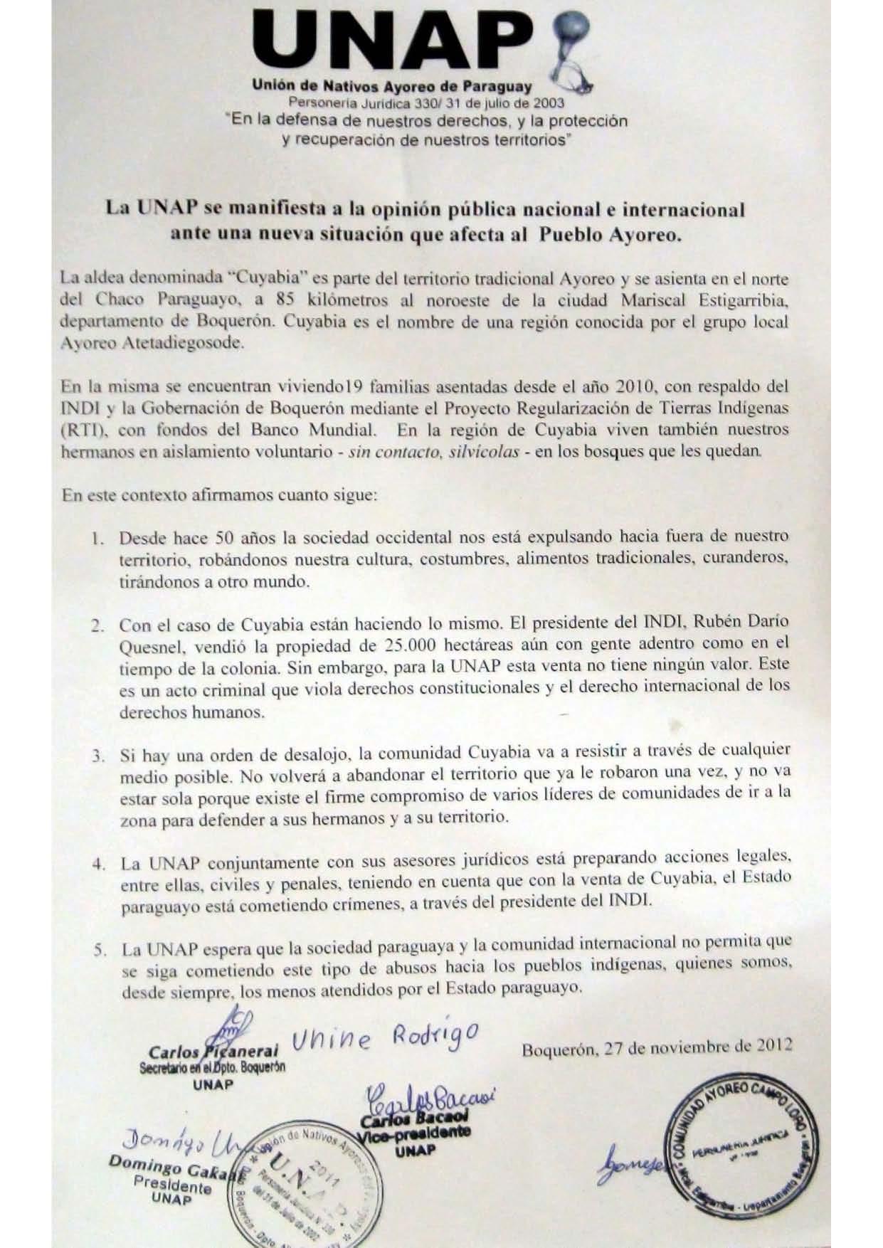 La Unión de Nativos Ayoreo de Paraguay se Manifiesta Ante una Nueva Situación que Afecta al Pueblos Ayoreo