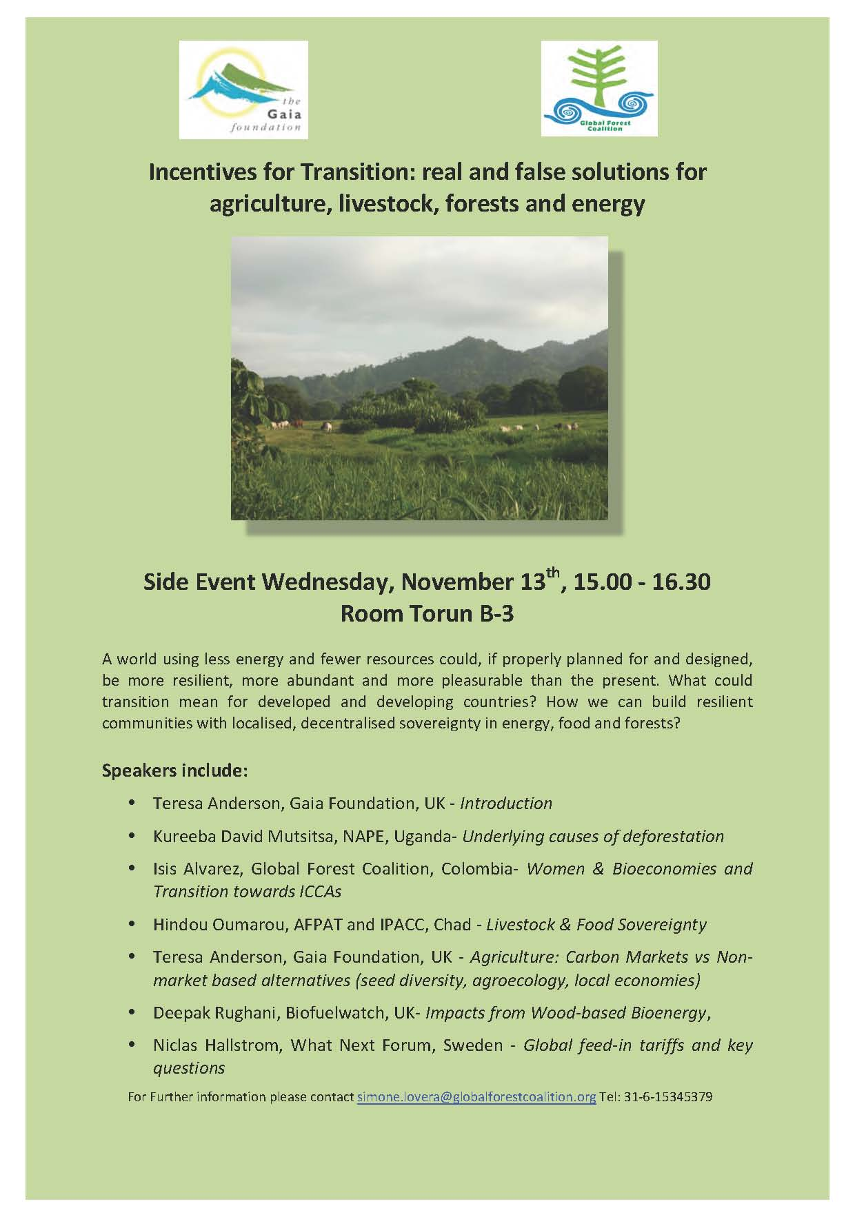 UNFCCC COP-19 - Side Event on Incentives for Transition: real and false solutions for agriculture, livestock, forests and energy