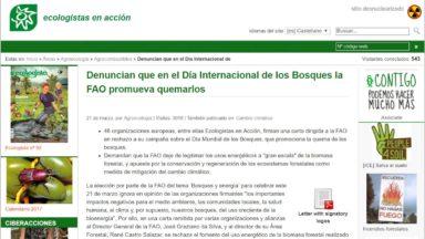 Denuncian que en el Día Internacional de los Bosques la FAO promueva quemarlos