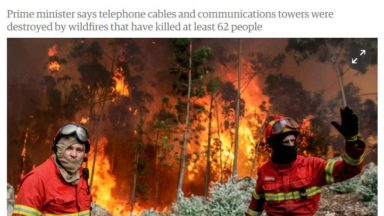 Portuguese wildfires: early warnings hindered by damaged phone lines