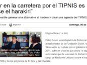 """""""Insistir en la carretera por el TIPNIS es hacerse el harakiri"""""""