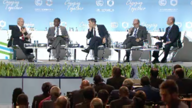 An all-male climate finance panel discussion at COP24.